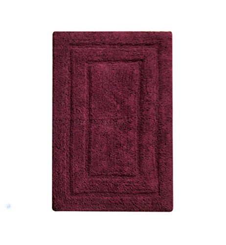 Chardin Home Classic Bath Rug, Large 27'X45' Burgundy 100% Pure Cotton, Super Soft, Plush & Absorbent with Latex Spray Non-skid Backing