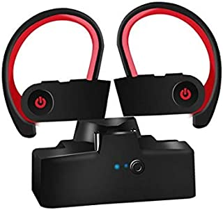 FairOnly Blueteeth 5.0 Headset Hanging Ear Type True Wireless Sports Headset for Mobile Phone red With charging compartment Electronics