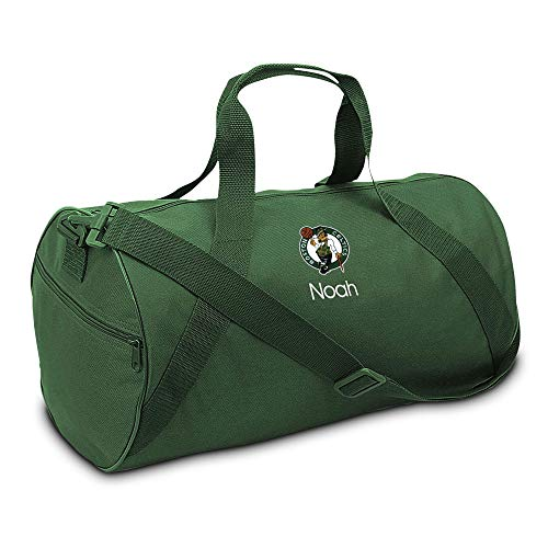 "Boston Celtics Personalized Duffel Bags for Kids - Official NBA Logo Embroidery, Removable Shoulder Strap, Polyester, 19"" x 14"" (Green, Logo)"