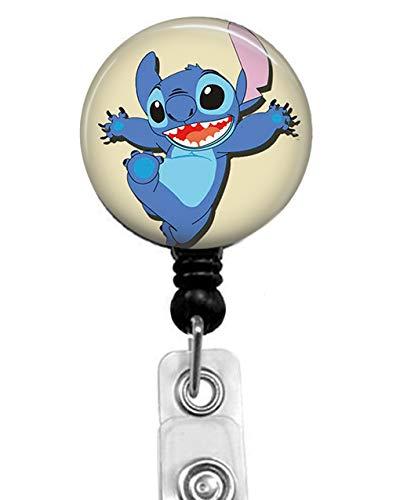 Happy Stitch Ausweishalter mit Krokodilklemme, für Krankenschwestern, Ausweis, Büroangestellte, Namensschild