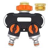 Jsdoin - Splitter per tubo da giardino, 2 vie, con adattatore per rubinetto da 3/4' e 1/2' Distributore di acqua per irrigazione giardino, lavaggio auto, animali domestici