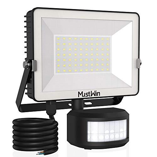 MustWin 50W LED Strahler mit Bewegungsmelder 5000LM Scheinwerfer 6000K Tageslichtweiß Super Hell Fluter, IP65 Wasserdicht Außenstrahler mit 2M Stromkabel, Ideale Aussenleuchte für Außen Garten Garage