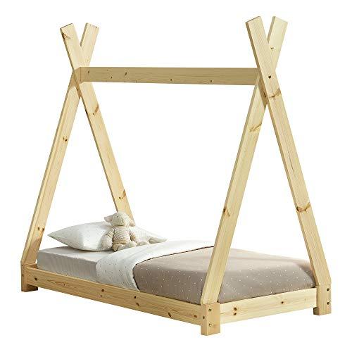 [en.casa] Cama para niños pequeños Cama Infantil 140 x 70cm Estructura Tipi de Madera Pino Color Pino Natural