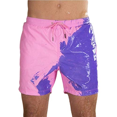 Pantalones Cortos Casuales de Verano para Hombre Pantalones de Playa Que cambian el Color del Agua con Personalidad Pantalones Cortos de Cinco Puntos con detección de Temperatura de Gran tamaño L