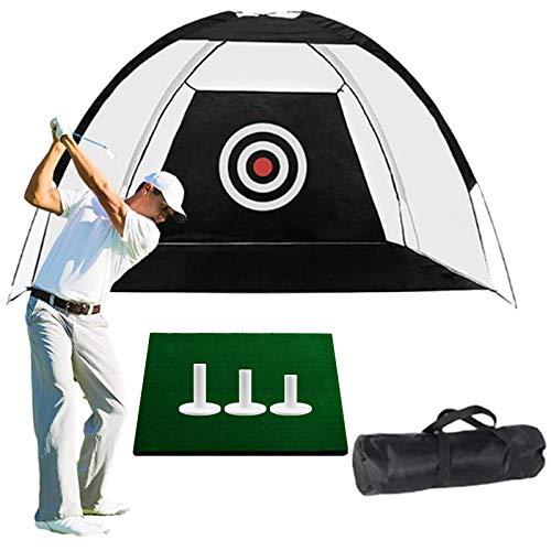 Filet de Practice de Golf Entrainement 3m Chipping Jardin avec 3 Pièces 2,25 2,75 3 Tés en Caoutchouc Et des Filets De Frappe De 30 * 40 Cm Intérieur (3M, Vert+3 Pcs Rubber Tees+Tapis de Golf+Bags)