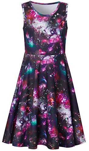 Galaxy Space Birthday Wedding Party Dresses for Girls, Little Girls Round Neck Sleeveless Slim Fit Casual Dresses Gradient Milky Way Dress
