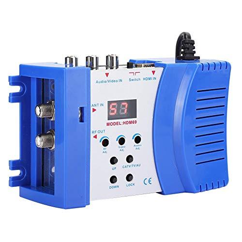 Hopcd Modulador de Audio RF HD, modulador Digital de Conector Hembra RF para Uso doméstico, 47~868 MHz VHF/UHF, estándar PAL, 100-240 V (Enchufe de la UE)