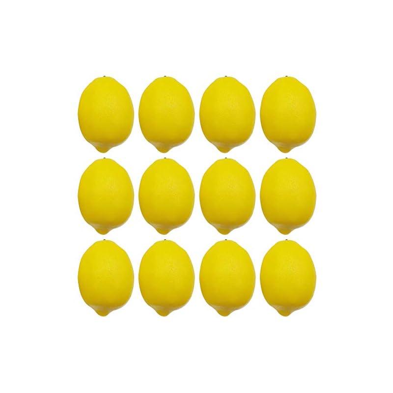 silk flower arrangements bigotters artificial lemons, big size vivid faux lemon plastic fake yellow lemon for fake fruit bowl, home kitchen table cabinet party decor photography prop