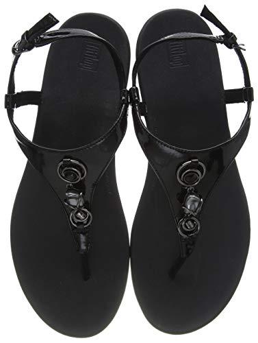 Fitflop Lainey Embellished Back-Strap Sandals, Sandalia Mujer, All Black, 37 1/3 EU