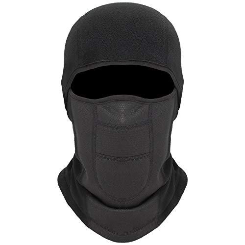 KARAA Windproof Balaclava Thermal Fleece Ski Mask Winter Thermal Fleece Full Cover Mask Motorcycle Face Scarf for Men Women Helmet Hat Cycling Running Hiking - Black