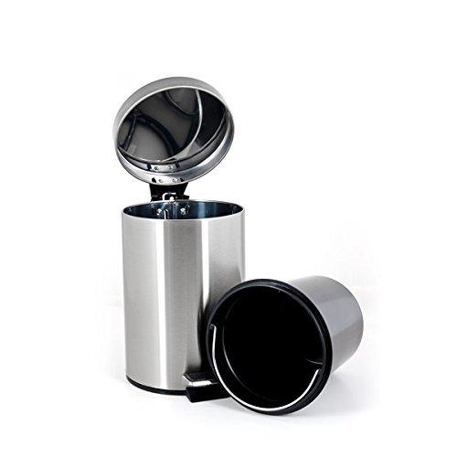 bremermann® cubo de basura con pedal, 12 L, se baja automáticamente, anti huellas, mate