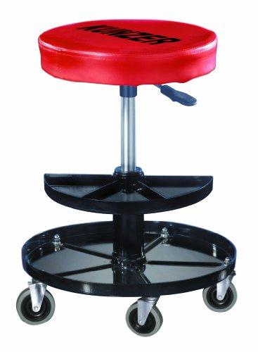 KUNZER (WK 3010) Montage-Rollhocker - 40-52cm pneumatisch verstellbare Sitzhöhe – inkl. Werkzeugablage – 150kg Traglast