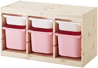 IKEA TROFAST(トロファスト)収納コンビネーション パイン材 ホワイト/ピンク 94x44x52cm Y-WS3P3