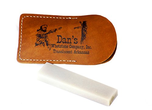 Dan's Whetstone Company, Inc Dan'S Genuine Arkansas Translucent Pocket Knife Blade Sharpening Stone Whetstone 4' X 1' X 3/8-1/2 In Leather Pouch Tap-14-L