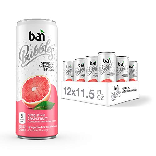 Bai Bubbles Sparkling Water Gimbi Pink Grapefruit Antioxidant Infused Drinks 115 Fluid Ounce Cans 12 Count