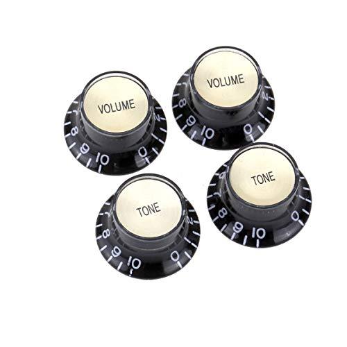 Musiclily Pro Metrische Größe 18 Splines 2 Volume 2 Tone Potiknöpfe Top Hat Reflector Bell Knobs Set für Asien Import Gitarre Bass Split Shaft Poti, Schwarz mit Gold Top