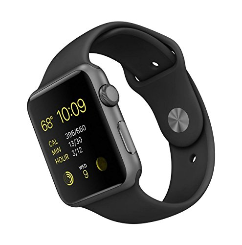 Apple Watch Sport (1. Generation) 42mm A1554 Aluminium Space Grau Gehäuse mit Sportarmband Schwarz (MJ3T2) (Generalüberholt)