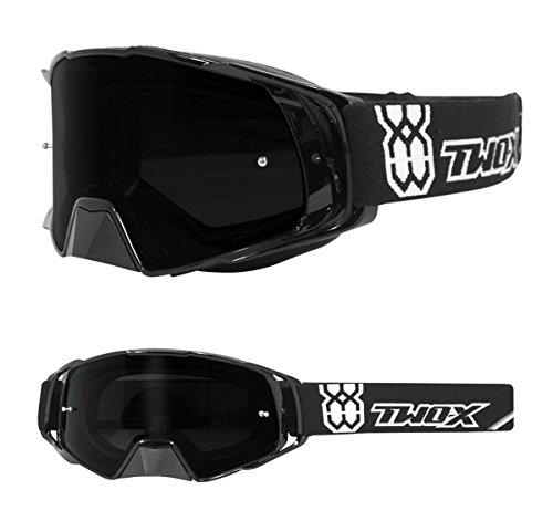 TWO-X Rocket Crossbrille schwarz Glas getönt grau MX Brille Nasenschutz Motocross Enduro Motorradbrille Anti Scratch MX Schutzbrille Nose Guard