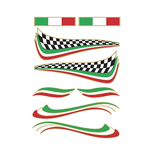 Adesivo Bandiera Italiana - kit 8 pezzi - Stickers decalcomania in pvc adesivo per esterno ideale per Vespa, Casco, Monopattino, Tuning Auto, Segway, Bici, Bike, Hoverboard