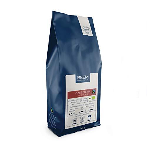 BEEM CAFÉ CREMA Ganze Bohne - 1 kg | Kaffeebohnen | Bohnenkaffee | Fairtrade | Bio | Geeignet für Filterkaffee, Kaffeevollautomat, Siebträger