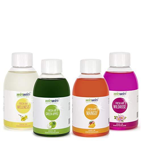 winwin clean Systemische Reinigung winwinCLEAN - 4ER Set 4 X 250ML I Fresh AIR LUFTREINIGUNGS-Konzentrat I Green Apple I Mango I WILDROSE I Wellness