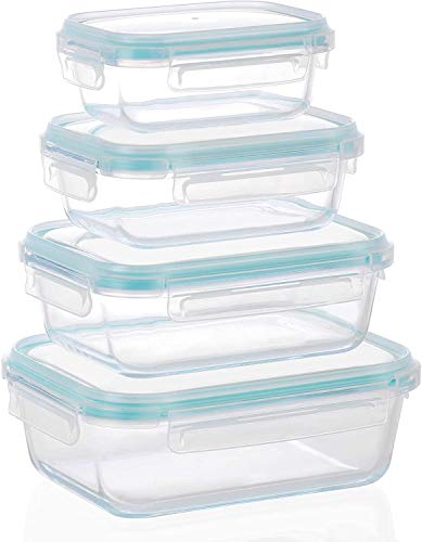 MIGUOR 4 Pack Airtight Glass Food Containers with Lids 100% Leak Proof BPA Free Food Storage Containers with Locking Lids - Freezer to Oven Safe - Glass Meal Prep Lunch Box Takeaway Containers