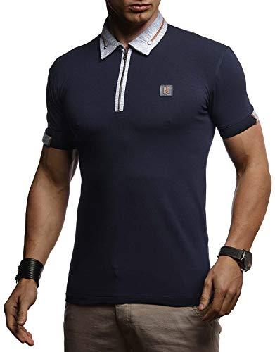 Leif Nelson Herren Sommer T-Shirt Polo Kragen Slim Fit Baumwolle-Anteil Basic Dunkel Blaues Männer Poloshirts Sweatshirt Kurzarm Weißes Shirt Kurzarmshirts lang LN4870 Dunkel Blau Medium