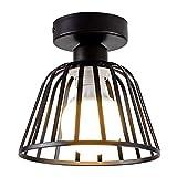 Lámpara industrial Vintage Loft Jaula de hierro negro Lámpara de techo LED Luz de...