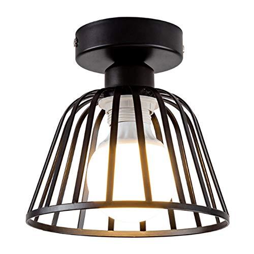 Lámpara industrial Vintage Loft Jaula de hierro negro Lámpara de techo LED Luz de metal nórdico con luz para cocina Dormitorio Barra de pasillo E27 Luminaria de techo