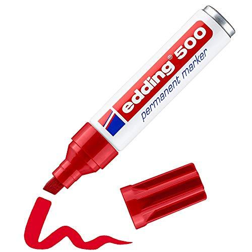 Edding 500 marcador permanente - rojo - 1 rotulador - punta biselada 2-7mm - resistente al agua, de secado rápido, rotuladores indelebles - para cartón, plástico, madera, metal, vidrio