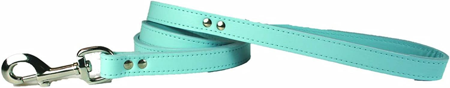 OmniPet 6075BBL Signature Leather Dog Leash, Baby bluee, 3 4  x 4'