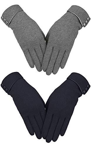 Gelanboo Womens TouchScreen Gloves Winter Gloves Warm Windproof Mittens Black+Grey