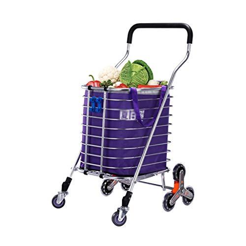 Carrello Carrello della spesa Piccolo carrello Carrello della spesa Carrello portatile pieghevole di grande capacità (Color : Purple, Size : 53 * 40 * 85cm)