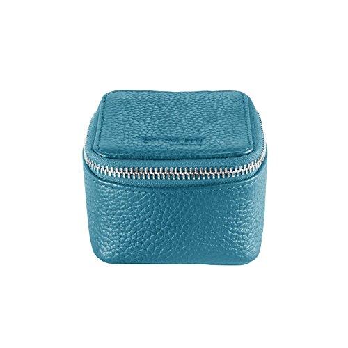 CHI CHI FAN Ring Box – Petrol | Schmuckkästchen aus echtem Leder | Top Qualität und klares Design treffen auf maximale Funktion | Optimaler Schutz für Schmuck wie Ringe, Ohrringe oder Uhren