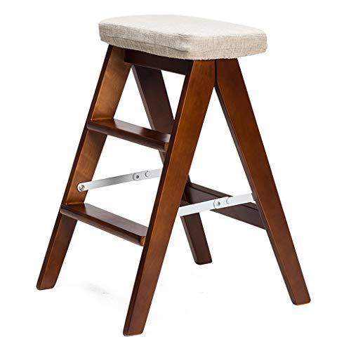 PLL huishouden houten opvouwbare kruk creatieve eenvoudige vouwladder kruk keukenkruk draagbare kruk klapstoel bank grijs
