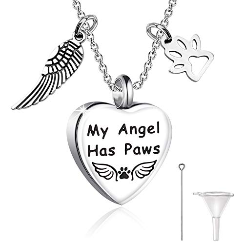 HOLLP Loss of Pet Memorial Gifts Cinerary Casket Cremation Pendant Necklace My Angel Has Paws Necklace Sympathy Condolences Gift for Pet Owner