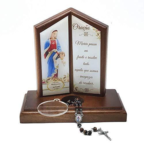 Oração de Mesa com Porta Terço Maria Passa na Frente