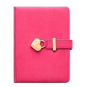 Cuadernos Contraseña del cuaderno, diario con la cerradura, engrosada Notebook 135 * 180 mm B6 5.3 * 7 En la PU duro de la cubierta, el Bloc de notas Papel gobernado Protección de los ojos blocs de no