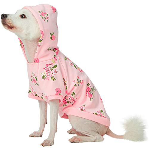 Blueberry Pet Spring Scent Inspired Daisy Flower Pullover Dog Hooded Sweatshirt in Baby Pink, Back Length 10', Pack of 1 Clothes for Dogs