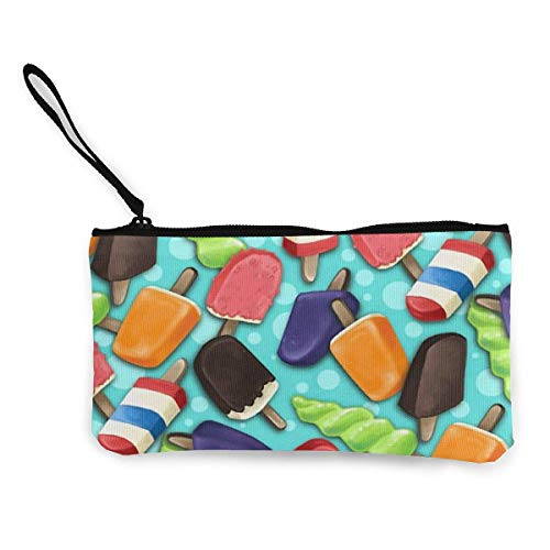 XCNGG Monederos Bolsa de Almacenamiento Shell Sweet Ice Cream Canvas Change Purse Cellphone Clutch Purse with Wrist Strap Multipurpose Cosmetic Bag Zip Mini Wallet For Travel Holiday