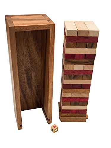 ROMBOL Wackelturm, dreifarbig, mit Würfel, Holz, schwere Variante, Familienspiel, Gesellschaftsspiel aus Holz
