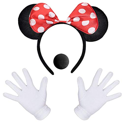 iZoeL Minnie Oreilles 1X Souris Oreille Bandeau 2X Gants Blancs 1X Nez Noir Carnaval Accessoire Personnage de Dessin Animé Cosplay Party Déco Adulte Enfant