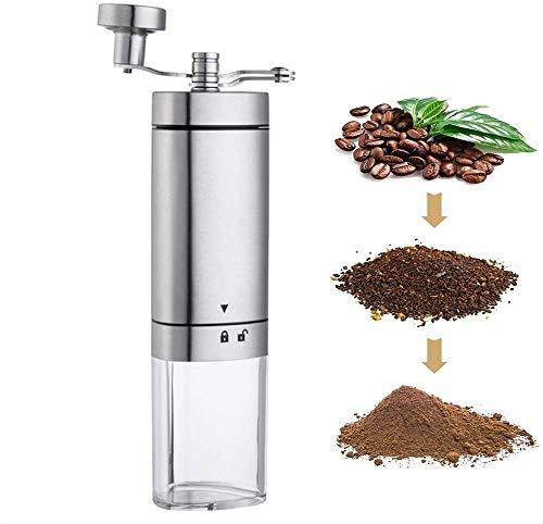 Macinacaffè manuale, in acciaio inox, con regolazione regolabile, macinacaffè in ceramica conica portatile per espresso, pressa francese, birra turca (trasparente)