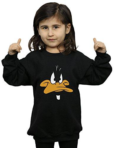 Looney Tunes Mädchen Daffy Duck Big Face Sweatshirt 5-6 Years Schwarz