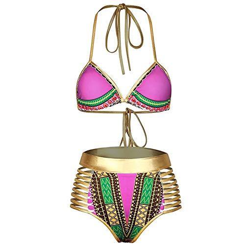 No branded Conjunto de Bikini Bikini de Cuello Alto for Mujer Traje de baño Acolchado de Dos Piezas for Adelgazar Trajes de baño for Mujeres Sin Espalda Traje de baño con Cuello en V