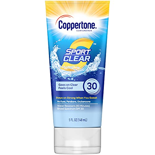 Coppertone Sport Clear SPF 30 Sunscreen Lotion, Water Resistant, Non-Greasy, Broad Spectrum UVA/UVB Protection, Clean, Cool, White , 5 Ounce