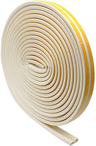SMAtech Dichtungsband für Türen 12M Tür-Dichtung selbstklebend weiss Fenster-Dichtung selbstklebend zur Isolierung für Lärmschutz und Schallschutz D-Profil