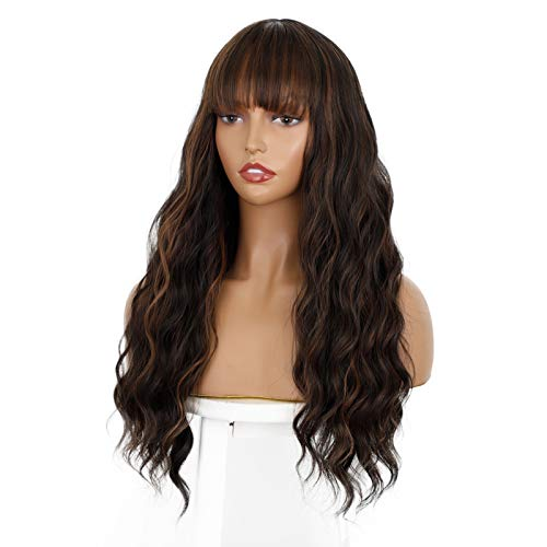 ENTRANCED STYLES Dark Brown Wig with Bangs, Long Wavy Wigs for Women Blonde Highlights Wig Natural Looking Heat Resistant Synthetic Wigs Daily Party Use