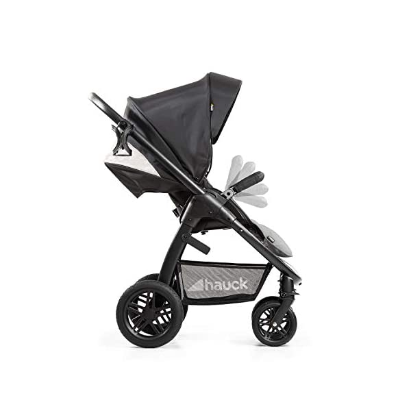 Hauck Hauck Unisex Promenade Chaises Black/Grey Hauck Maximum comfort: backrest and footrest adjustable to the lying position, extra large canopy, height adjustable handlebars, cup holders and foot covers All terrain: the stroller is suitable for both the city and the countryside thanks to the suspension, the high-quality rubber profile and the swivel and lockable front wheels. Swivel: The lightweight sports chair with removable front bar can be rotated towards parents or in moving direction easily in a few seconds. The chair supports a weight of up to 25 kg. 21