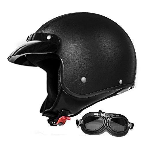 ATO Helme Pilotenhelm Jet Helm mit Leder bezogen Mit Brille ECE 2205 M 57cm Bis 58cm
